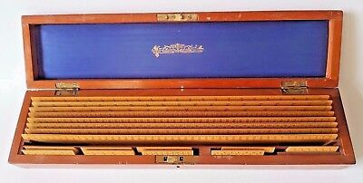 Antique Set Fitted Mahogany Cased Stanley Wooden Antique Rulers 8 Lrg & 9 Mini