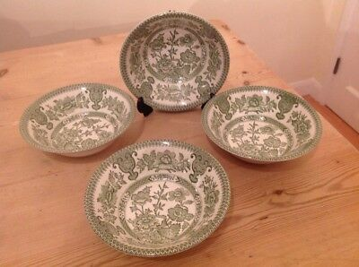 English Ironstone Tableware Green Indian Tree 4x Cereal/Dessert Bowls 16.5cm