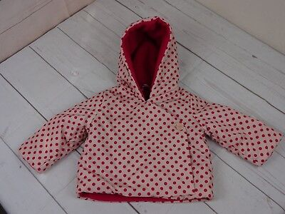 Baby Gap Girls Pink Polka Dot Jacket Fleece Lined Size 6-12 Months - A1839