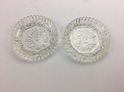 Pair of Vintage Clear Pressed Glass Plates with Fruit Design 5 1/4 Inches