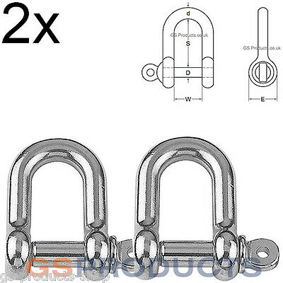 2x 10mm D Shackles Stainless Steel A4-AISI 316 4800kgs Break Load FREE P+P
