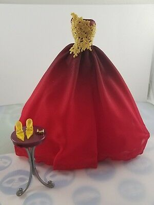New Barbie Doll Holiday Red Gold Ball Gown Dress Outfit W/ Shoes Fit Model Muse