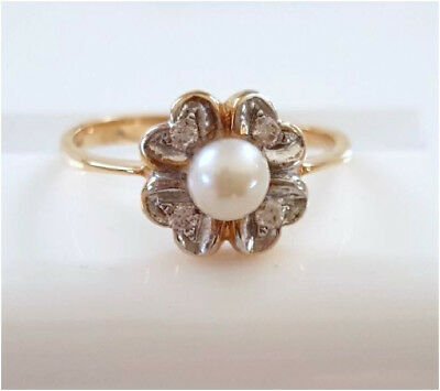 Ring Gold mit Perle und Zirkonia Gold 585 Ring Rotgold 585 Ring Echtgold Ring