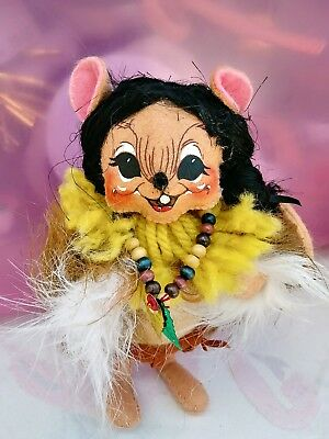 """Annalee Indian Girl Mouse with Bead Necklace 6"""" Doll NEW NWT"""