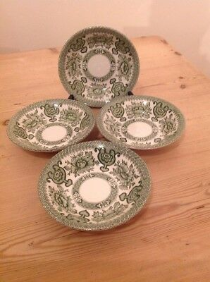English Ironstone Tableware Green Indian Tree 4x Small Bowls 14cm
