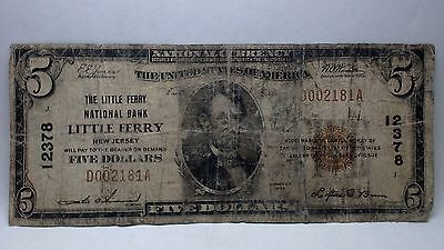 1929 $5 Little Ferry, New Jersey National Currency Bank Note Ch. #12378 TY-1