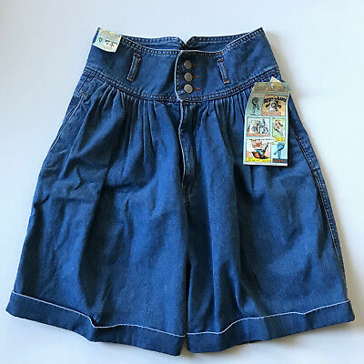 VNTG 80s DEADSTOCK High Waisted Pleated Denim Shorts SMALL Cuffed Jean JORDACHE