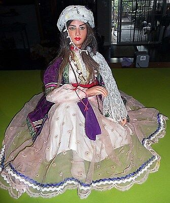 Old? Gorgeous Wax? Hand Made Persian Islamic Iran Doll~Real Hair/eyebrows/lashes
