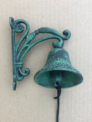Hanging Cast Iron Green Black Vine BELL Wall Mount Rustic Vintage Antique