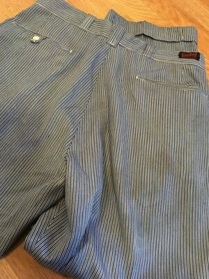 Vintage 1950's Unitog Hickory Liberty Stripe Denim Pants Work Wear 34x32