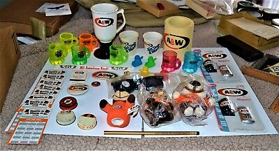 VTG A&W Root Beer Collectible Lot of 40+ Shot Glass Bears Patch Rare Lids More