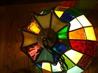 Beautiful Vintage Multi Color Stained Glass Hanging Light Lamp with Chain