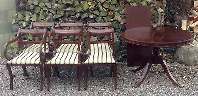 Dining Table And 6 Chairs Reproduction Mahogany Regency Style  Good Condition