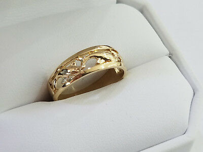 Saro14K Gold 3 Dolphins Together Band Ring Sz 7.5 - 7837