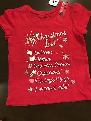 NWT Childrens Place Shirt Size 2T Toddler Girls Christmas Holiday Gift Santa