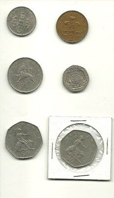 Lot of 6 UK Coins 1969 50 New Pence 20 10 5 2 British 1978 1971 Great Britain GB