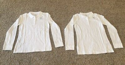 NWT Lot Of 2 - Girls White Long Sleeved School Uniform Shirts - Size XL 14