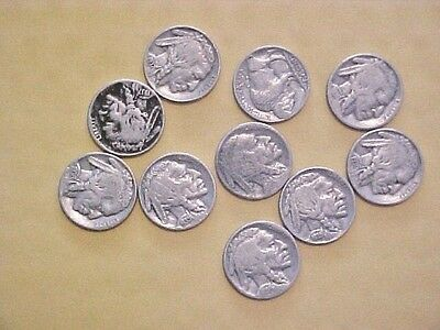 5C Buffalo NICKLES ASSORTED DATES AND MINTS 10 COINS