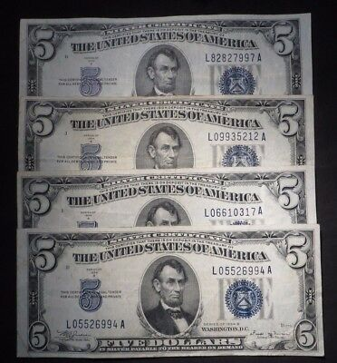 (4) 1934-B Five Dollar Silver Certificates- Nice Circ    #7997