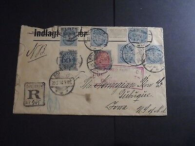Denmark Scott Numbers 40 (5) 42 & 46 on 1896 Cover to New York - Exquisite Item!