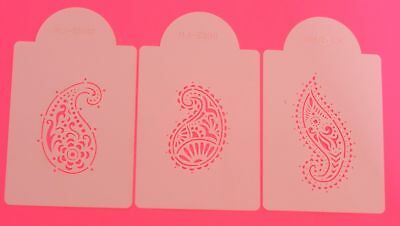 Jaipur Paisley Stencils x 3 Cake Side Border Top Icing Decorating