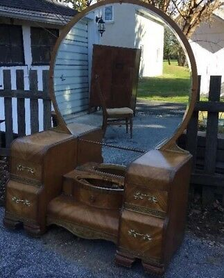 "Vintage 1940's Art Deco Waterfall Style Ornate Romantic Vanity 47""L x 26""H x 20"""