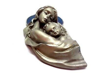 Vintage Madonna w Baby Jesus Stained Glass Wall Hanger  PELTRO Pewter Religious