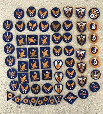 Original WWII WW2 US Army Air Force  Cut Edge Patch Lot of 64 Patches No Glow