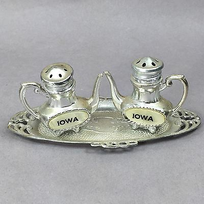 Vintage Silver Tone Metal Teapots IOWA Salt & Pepper Shakers with Plate/Tray