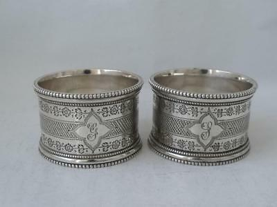 Quality Pair of Antique Hand-Engraved Solid Silver Napkin Rings 1898/ H 3.2 cm