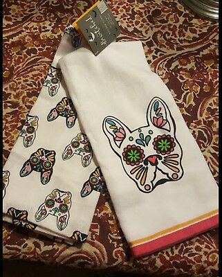 """NWT Bewitched Home French Bulldog Kitchen Towels Set of Two 18"""" x 28"""""""