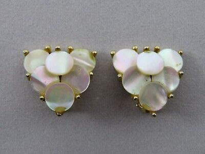 Vintage Earrings Signed Art, With Mother Of Pearl Discs Forming A Heart