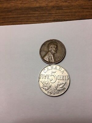 Antique 1930 Lincoln Wheat cent + 1930 King George V Canadian nickel 2 coin lot