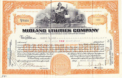 MIDLAND UTILITIES COMPANY Stock Certificate April 25 1928 Signed by S Insull, Jr