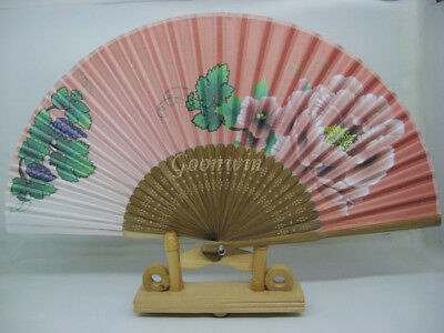 Peony Style Gradient Colors Hand Held Bamboo Folding Fan Wedding Favor HSF77