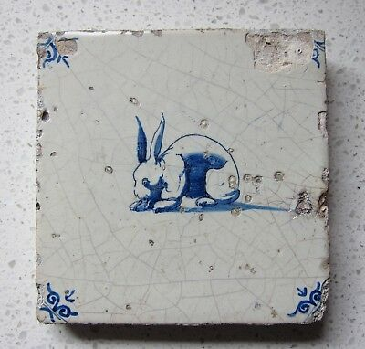17th Century Dutch Delft Tile RABBIT (c.1650)