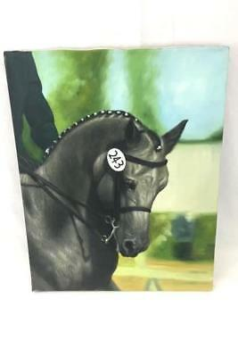 Original Oil Painting of Grey Show Horse with Rider by Rose M. Sullivan