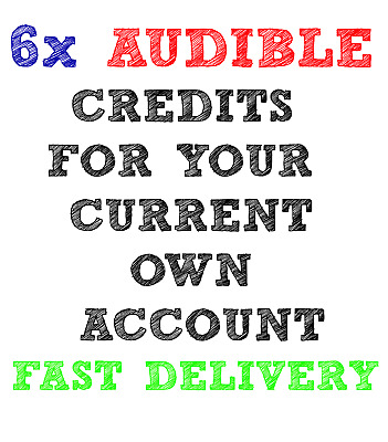 6x Audible.com US credits for your own / existing account (any book,any price)