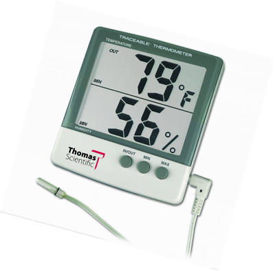 "Thomas 4184 ABS Plastic Traceable Jumbo Thermo-Hygrometer, 1-1/8"" High Display,"
