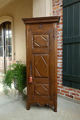 Antique French Carved Oak Cabinet Armoire Bonnetiere SLIM Bookcase Linen Closet
