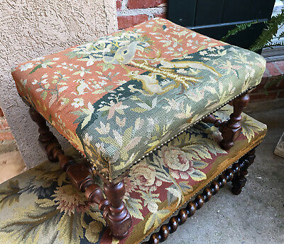 Antique French carved oak Louis XV Joint Stool Bench Tapestry Unicorn Deer