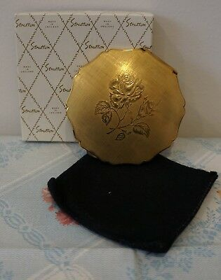 STRATTON . England . Gold Compact . Rose Pattern . Unused . Original Box