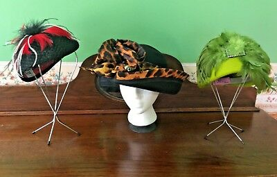 Lot of 3 Vintage Ladies Fall Winter Dress Hats Black Green Animal Print