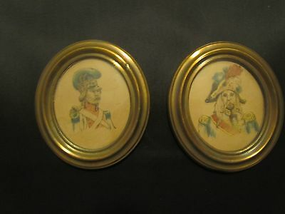 Pair Of French Oval Soldier Miniatures, Late 19Th Century