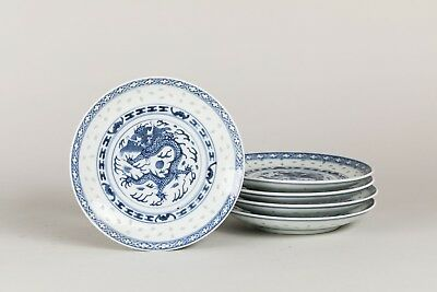 Late 19th Chinese Antique Group of Blue and White Dishes with Dragon Pattern