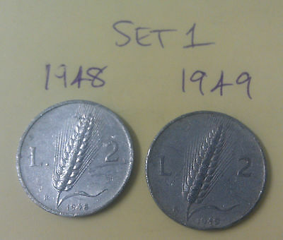 Set #1 Italy Republic 2 Lire aluminium coins 1948 1949 (scarce low mintage year)