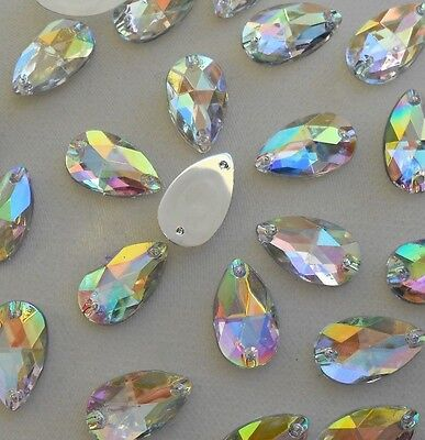 18x11mm Crystal AB Tear Drop Acrylic Flatback Rhinestones Sew-on  30pc