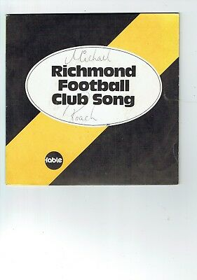 """AFL VFL Fable Richmond Tigers Club Song 7"""" single signed by Michael Roach  M20"""