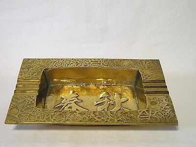 Solid Casted & Polished Brass Ashtray Ornate Very Heavy Stylish Maker Marked