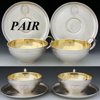 "Rare PAIR Antique French Sterling Silver Chocolate or Tea Cup & 6.5"" Saucer Set"